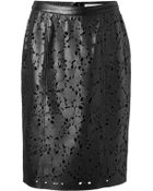 Burberry London Leather Laser Cut Pencil Skirt - Lyst