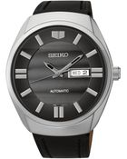 Seiko Men'S Automatic Black Leather Strap Watch 44Mm Snkn07 - Lyst