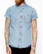 Asos Acid Wash Denim Shirt In Short Sleeve With Icon Print - Lyst