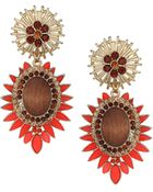 Topshop Wood and Red Stone Drop Earrings Red - Lyst