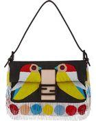 Fendi Fringed Embroidered Baguette Shoulder Bag - Lyst