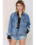 Nasty Gal After Party Vintage Total Stud Denim Studded Jacket - Lyst