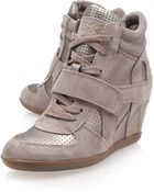 Ash Stone Bowie Suede And Metallic High-Top Wedge Trainers - Lyst