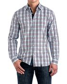 Stone Rose Babyblue & Bordeaux Plaid Sport Shirt - Lyst