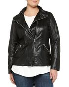 Marina Rinaldi Emma Perforated Leather Biker Jacket - Lyst