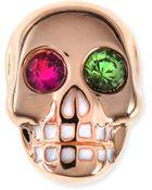 Sydney Evan 14K Rose Gold Gemstone Skull Single Stud Earring - Lyst