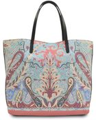 Etro Bustle Leather Printed Tote - Lyst