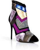 Giuseppe Zanotti Suede Patchwork Ankle Boots With Crystal Embellishment - Lyst