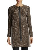 Lafayette 148 New York Shira Reptile-Jacquard Faux-Leather Trimmed Coat - Lyst