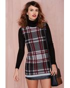 Nasty Gal Plaid Student Turtleneck Sweater Dress - Lyst