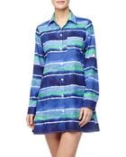 Tommy Bahama Waveprint Boyfriend Shirt Coverup - Lyst