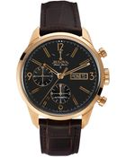 Bulova Accuswiss Men'S Automatic Chronograph Murren Brown Leather Strap Watch 41Mm 64C106 - Lyst
