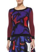 Diane von Furstenberg April Floral Sweater W/ Striped Sleeves - Lyst