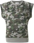 Saint Laurent Cap-Sleeve Camouflage Sweatshirt - Lyst