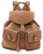 What Goes Around Comes Around Gucci Bamboo Backpack - Brown - Lyst