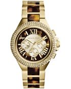 Michael Kors Women'S Chronograph Camille Tortoise And Gold-Tone Stainless Steel Bracelet Watch 43Mm Mk5901 - Lyst