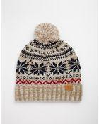 Asos Snowflake Bobble Beanie Hat In Wool Blend - Lyst