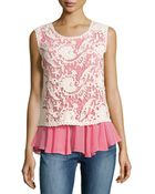 Alberto Makali Embroidered-Lace Sleeveless Blouse - Lyst