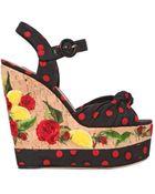 Dolce & Gabbana 150Mm Silk Charmeuse Wedge Sandals - Lyst