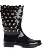 RED Valentino Studded Varnished Boots - Lyst