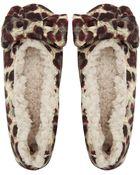 Ruby And Ed Beige Leopard Velvet Bow Ballerina Slippers - Lyst