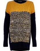 River Island Navy Color Block Cable Knit Tunic - Lyst