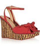 Charlotte Olympia Miranda 110 Canvas Wedge Sandals - Lyst