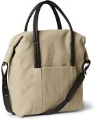 Maison Martin Margiela Leather-Trimmed Cotton-Canvas Holdall Bag - Lyst