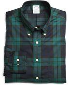 Brooks Brothers Non-iron Slim Fit Black Watch Sport Shirt - Lyst