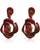 Oscar de la Renta Red Resin Painted Flower Earrings - Lyst