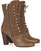 Chloé Leather Lace-up Boots - Lyst