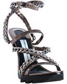 Camilla Skovgaard Steel Leather and Chain Ankle Wrap Platform Sandals - Lyst