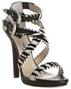 Jimmy Choo Zebra Printed Pony Maddox Platform Sandals - Lyst