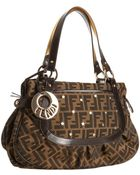 Fendi Brown Zucca Canvas Chef 2 Star Studded Shoulder Bag - Lyst