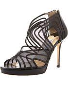 Jimmy Choo Mesh Cage Platform Sandal, Black - Lyst