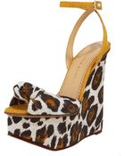 Charlotte Olympia Leopard-print Linen Wedge Sandal - Lyst