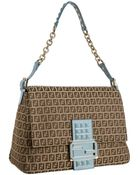 Fendi Mahogany and Lagoon Zucchino Mamma Studded Shoulder Bag - Lyst