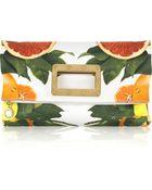 Stella McCartney Falabella Citrus-print Cotton Clutch - Lyst