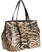 Jimmy Choo Natural Exotic Print Canvas Scarlet Shopper Tote - Lyst