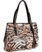 Jimmy Choo Natural Exotic Print Coated Canvas Scarlet Medium Tote - Lyst