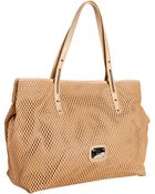 Jimmy Choo Nude Perforated Leather Scarlet Shopper Tote - Lyst