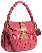Miu Miu Pink Ruched Leather Braided Strap Shoulder Bag - Lyst