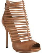 Gucci Light Brown Leather Inga Peep Toe Cage Booties - Lyst