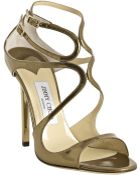 Jimmy Choo Bronze Mirrored Leather Lance Sandals - Lyst