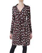 Diane von Furstenberg Printed Silk Jersey Wrap Dress - Lyst