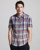 Band of Outsiders Faded Short-sleeve Madras Shirt - Lyst