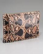 Valentino Floral-Print Leather Clutch - Lyst