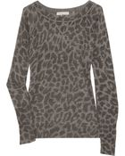 Rebecca Taylor Leopard-print Knitted Sweater - Lyst