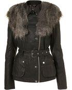 Topshop Faux Fur Wax Jacket - Lyst