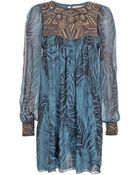 Matthew Williamson Feather Georgette Embellished Dress - Lyst